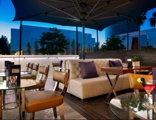 outdoor patio dining area during dusk