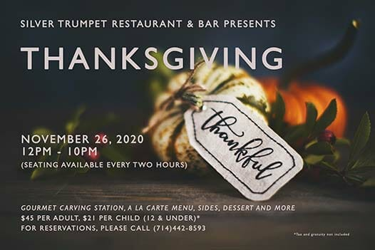 A flyer image for Silver Trumpet Thanksgiving Dinner 2020 event